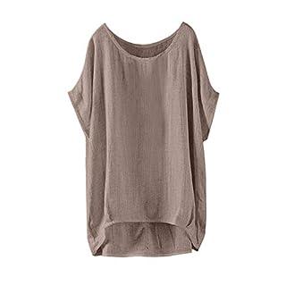 Lazzboy T Shirt Top Women Linen Plain Short Sleeve Tee UK 10-24 Oversized Ladies Loose Blouse Plus Size(2XL(18),Brown)
