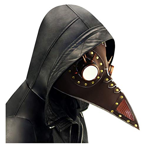 Quner Halloween Maske, Pest Vogel Doktor Schnabelmaske Pest-Maske Halloween Cosplay ,Retro Felsen Party Masken Kostüm Dekoration (Braun)