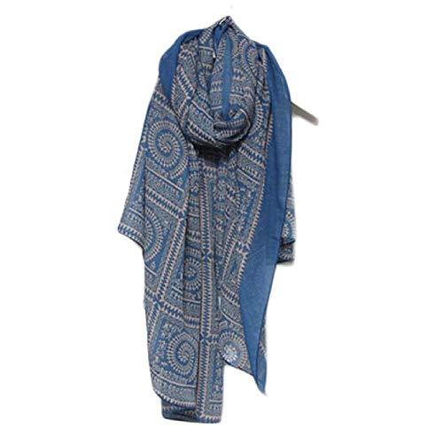 YEBIRAL Vintage Frauen Blumendruck Lange Weiche Wrap Schal multifunktional Kopftuch Damen Tücher Schal (Einheitsgröße,Blau) (Schaltknauf Ranger)