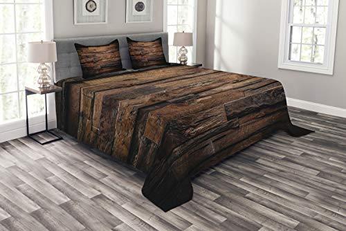 ABAKUHAUS Schokolade Tagesdecke Set, Raue Dunkle Holz, Set mit Kissenbezügen Klare Farben, für Doppelbetten 264 x 220 cm, Dunkelbraun Braun -