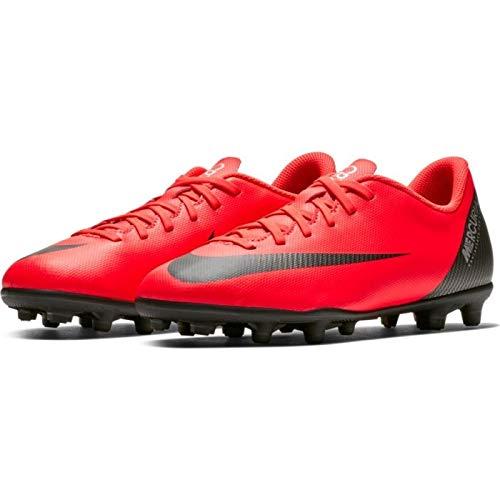 Nike jr vapor 12 club gs cr7 fg/mg, scarpe da calcio unisex-bambini, (bright crimson/black-chrome 600), 37.5 eu