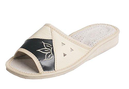 HAUSSCHUHE für damen 100% LEDER Pantoffeln | 91 Schwarz