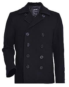 Seibertron Manteau de laine type US Navy 80% laine Peacoat USN Pea manteau - Caban - Manches longues - Homme (3XL, Noir)