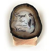 Achat Edelstein Mineralien auf Holz/Teelicht Natur einzigartig kreatives Geschenk für Geburtstag Liebe Mama Text und Motiv: Engel mit Flügel