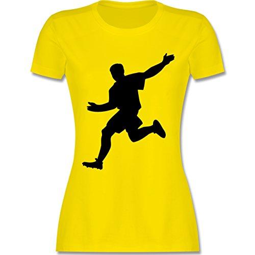 Fußball - Fußball - tailliertes Premium T-Shirt mit Rundhalsausschnitt für Damen Lemon Gelb
