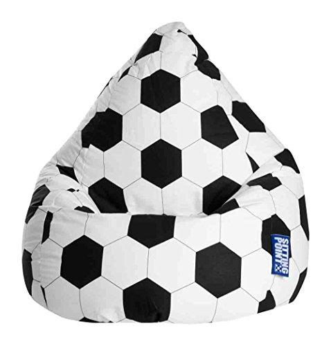 lifestyle4living Sitzsack, Sitzkissen,Fussball, schwarz-weiß, Maße: B/H/T ca. 70/110/70 cm