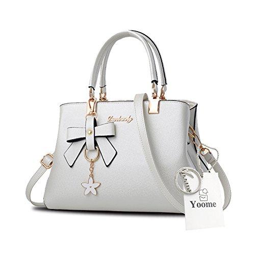 Sacchetti eleganti della borsa della maniglia del pendente del fiore di Yoome per le donne con i sacchetti casuali del pannolino - azzurro bianca