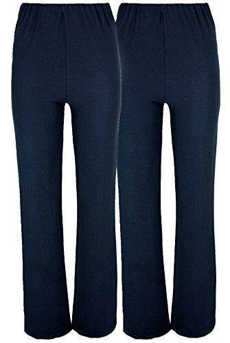 Pantalons élastiques évasés pour femmes (lot de 2) pour travail infirmière / soignante - Bleu - 42