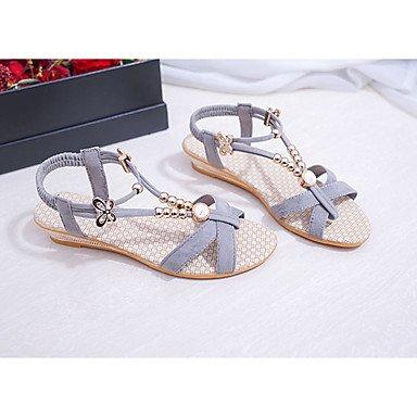 LvYuan Sandalen-Lässig Kleid-PU-Keilabsatz-Komfort-Schwarz Grau gray