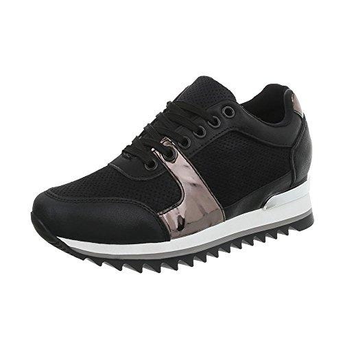 Ital-Design Sneakers Low Damen-Schuhe Keilabsatz/Wedge Schnürsenkel Freizeitschuhe Schwarz, Gr 39, G-128-