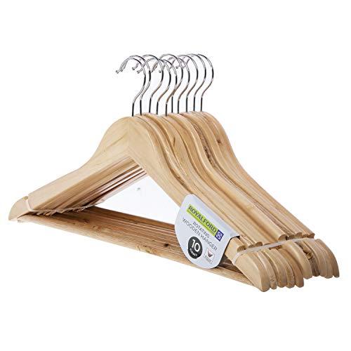 Royalford 10-teiliges drehbares Holz-Kleiderbügel-Set - aus hochwertigem Naturholz, gedrehter Haken, elegantes Design, praktische Größe - zum Organisieren Ihrer Garderobe - Naturholz-kleiderschrank