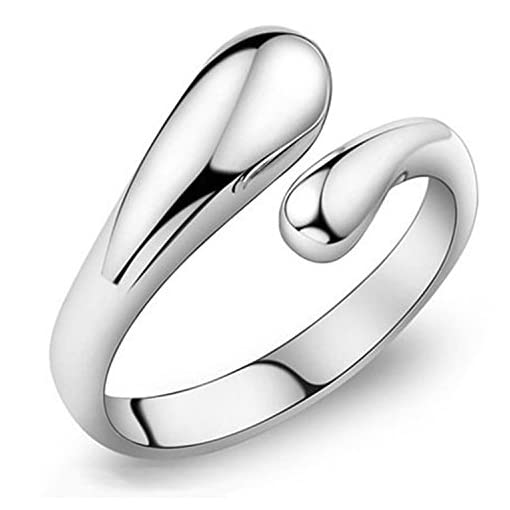 BODYA Adjustable Rings Women Tear Drop Ring Open Droplet Ring Band Silver Plated Fashion Rings