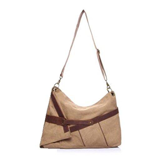 Vogstyle Damentasche Canvas Damen Einkaufstüten Umhängetasche Schultertasche Messenger Tasche Art 1 Grau Art 2 Khaki