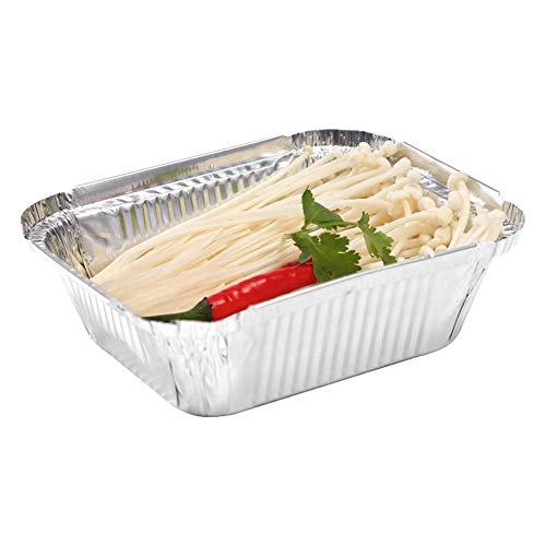 Byfjkkl Rechteckige Einweg-Aluminiumfolienwanne, Lebensmittelbehälter mit flachen Brettdeckeln (100er-Pack),Aluminumfoil,2700ML