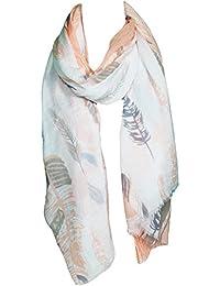 Mevina Damen Schal mit Feder Print Muster groß Sommer Ibiza Style Tuch Sommerschal Halstuch Premium Qualität