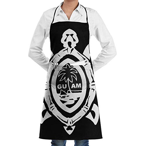 Guam Seal in A Tribal Turtle Grill Aprons Kitchen Chef Bib - Professional for BBQ Baking Cooking for Men Women Pockets where to buy aprons Red Seal Chef