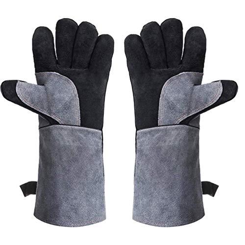 Schweißen von Bbq-Handschuhen, 1 Paar Langärmliger Leder-Grillhandschuh, Hitze- und Feuerfest für Barbecue-Grillöfen