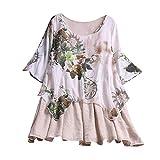 MRULIC Damen Fledermaus Hemd Lässig Locker Top Dünnschnitt Bluse Frühling T-Shirt Leinenbluse Freundin(C2-Beige,EU-44/CN-2XL)