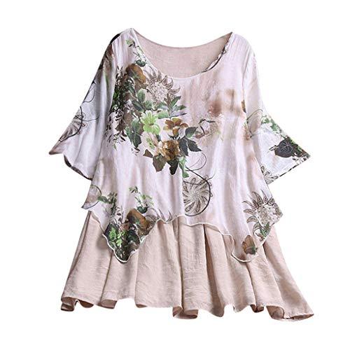 Zegeey Damen T-Shirt GroßE GrößEn Blumenfarbe Kurzarm Rundhals Shirts Bluse Top Oberteil Baumwoll Leinen Tunika Schicker Elegant LäSsige Lose(Beige,EU-50/CN-5XL)