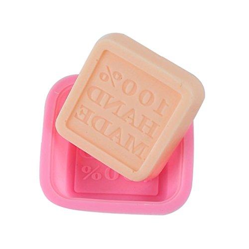 Bar Soap Mold (Hunpta 6 Stk niedliche Handwerk Kunst Platz Silikon Ofen handgemachte Seife Formen DIY-Soap Mold (Rosa))