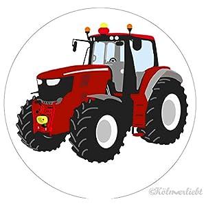 """Design-Magnet 6,3cm (rund)""""roter Traktor"""", Kühlschrankmagnet, Geschenk, Mädchengeschenk"""