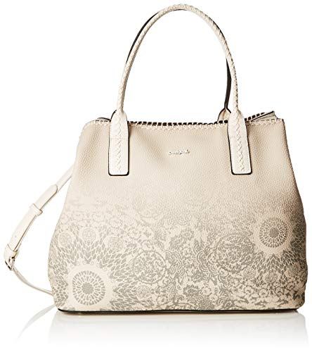 Desigual Damen Bag Double Gin_holbox Women Schultertasche, Weiß (Rainy Day) 17x30.5x37 cm