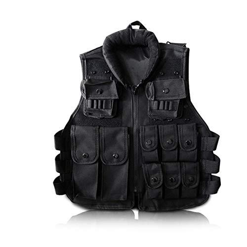 YANODA Jagdwesten Kinder Jagd Militärische Taktische Armee Weste Kinder Airsoft Gear Combat Rüstung Uniform Jungen Mädchen Cs Swat Police Outdoor Kostüm, Kid Höhe 115-140 cm, Schwarz