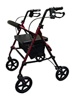Simplelife Mobility Lightweight Folding 4 Wheel Rollator with Adjustable Walking Frame and Padded Seat, Red