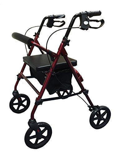Simplelife Leicht Gehhilfe mit einstellbarer Sitz Höhe - Rot (Roter Rollator Mit Sitz)