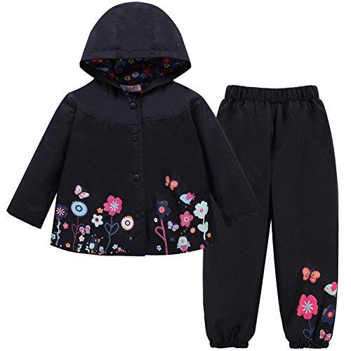 LZH Bambino Impermeabile Ragazza Pioggia Giacca con Cappuccio e Pantaloni Set