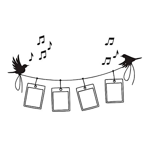 Vögel musik bilderrahmen wandaufkleber dekoration bedrrom tiere wandtattoos wandkunst wohnzimmer cartoon aufkleber 100x43 cm