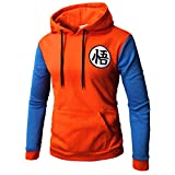 CHENMA Men Dragon Ball Goku Langarm Vorne schnappen Bomberjacke Varsity Jacke mit Kapuze (L, Pullover Orange&Blau)