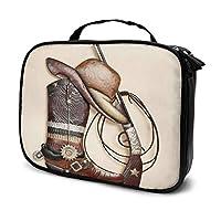 Nicokee Travel Makeup Bag Western Cowboy Boots Hat Gun Cosmetic Case Organizer Waterproof Makeup Brush Organizer Bag For Women