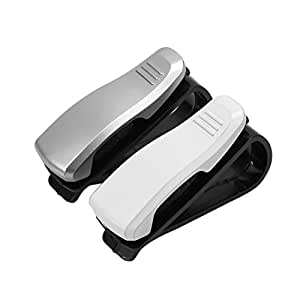 2x porte lunettes support plastique pince clip holder glasses de voiture auto high tech. Black Bedroom Furniture Sets. Home Design Ideas