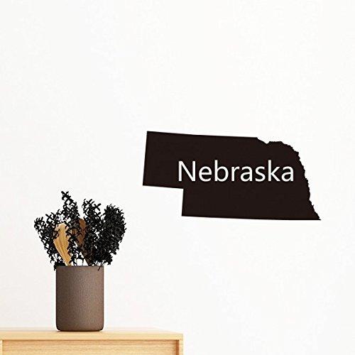 Nebraska der Vereinigten Staaten von Amerika USA Karte Silhouette abnehmbarer Wandtattoo Kunst Aufkleber Wandbild DIY Tapete für Raum Aufkleber 60cm (Staaten-map-kunst Vereinigte)