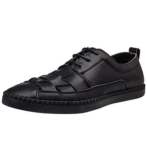 CUTUDE Herren Freizeitschuhe Mokassins Atmungsaktiv Slip on Loafers Outdoor Casual Sneakers Weich Leder Shoes Halbschuhe (Schwarz, 38 EU)