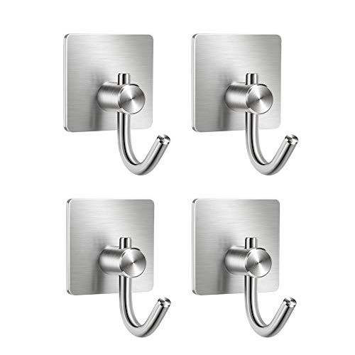 Selbstklebende Haken, Eshall 3M selbstklebende Badetuchhaken Edelstahl Wandhaken für Schlüssel Kleiderschrank Küche Bad Büro Schrank WC