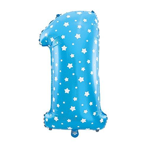 MC-Globo Gigante Número 1 DE Foil Color Azul con Estrella para Fiestas de Cumpleaños 65cm