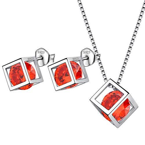 AuroraTears Januar Birthstone Halskette Ohrstecker 925 Sterling Silber Roter Granat Quadrat Geburtsstein Schmuck Set Geschenke für Frauen und Mädchen DS0028J
