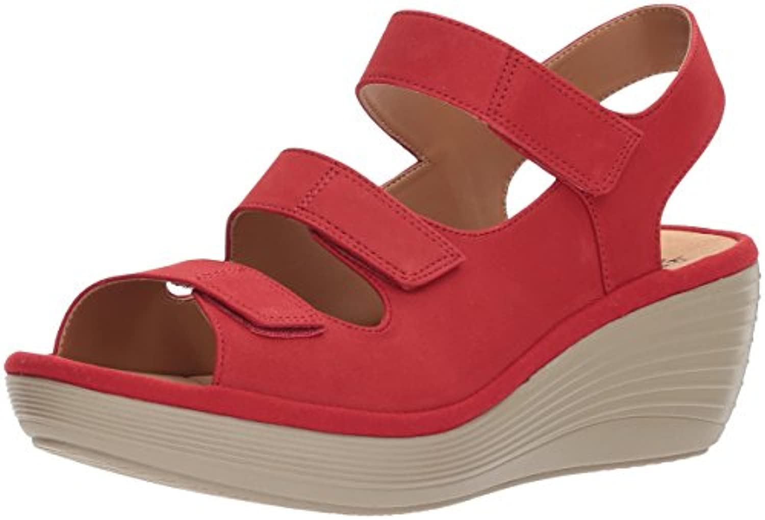 Clarks Wouomo Reedly Juno Wedge Sandal, rosso Nubuck, 9 Medium US | Acquisti online