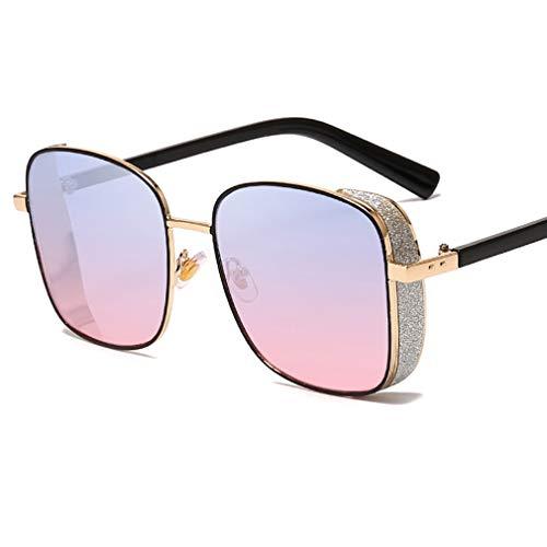 YHgiway Square Steampunk Sonnenbrillen für Damen & Herren, Metallrahmen Shiny Shades Sonnenbrille verspiegelte Gläser - Unisex Vintage Eyewear UV400 Protection YH7271,BluePinkLens