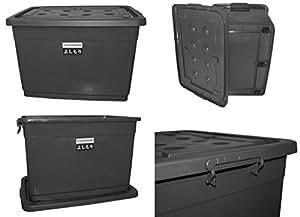 aufbewahrungsbox mit deckel und rollen 160 liter grau 22311 k che haushalt. Black Bedroom Furniture Sets. Home Design Ideas