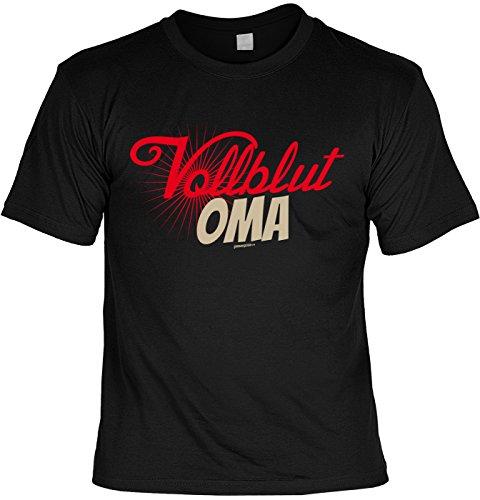 T-Shirt - Vollblut Oma - cooles Shirt mit lustigem Spruch als Geschenk zum Muttertag Schwarz