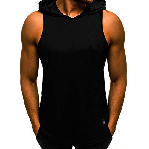 Juleya Fitness Hoodie Tank Top Männer Ärmelloses Bodybuilding T-Shirts Stringer Casual Workout Männlich Kapuzen Weste Unterhemd Schwarz XL -
