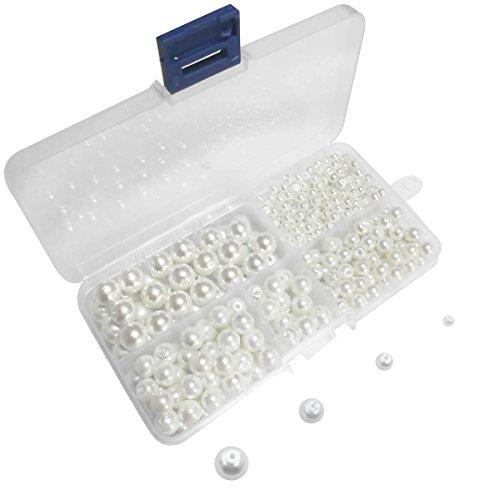 Lnvision 400 Stück perle 4mm bis 10mm Weiß Glasperlen runde weiße gemischte Größe Perlen für Schmuckherstellung