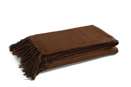 EliteHomeCollection Plaid en coton gaufré Chocolat 228 x 254 cm