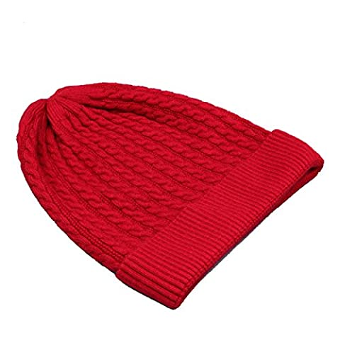 Automne Et Hiver Unisex Knitting Warm Baseball Cap Slouch Stretch Outdoor Wind Proof Hat One Size,Red-OneSize