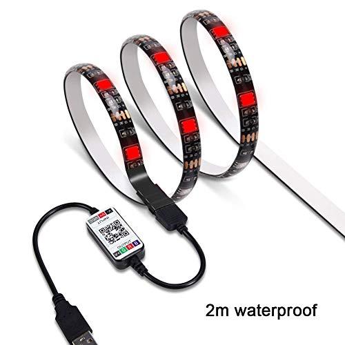 USB Rücklicht LED TV Hintergrund App Steuerung Selbstklebend Flexibel Musik Sync 16 Millionen Farben Bluetooth - Wie Bild Show, 2m & Waterproof epoxy -