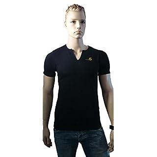 Srazda - Tee-shirt col mao noir - Homme - coupe ajustée au niveau du buste - Dessin devant et dos