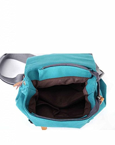 Eshow Damen Canvas Freizeit Sportlich Uni Rucksack Taschen Hellblau